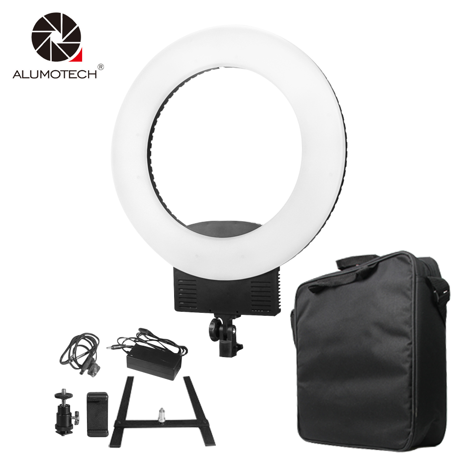 18 3200K~5600K Stepless Dimming 48W LED Ring Light+Battery Mount+Carry Bag For Video Studio Selfie Film Photography Equipment