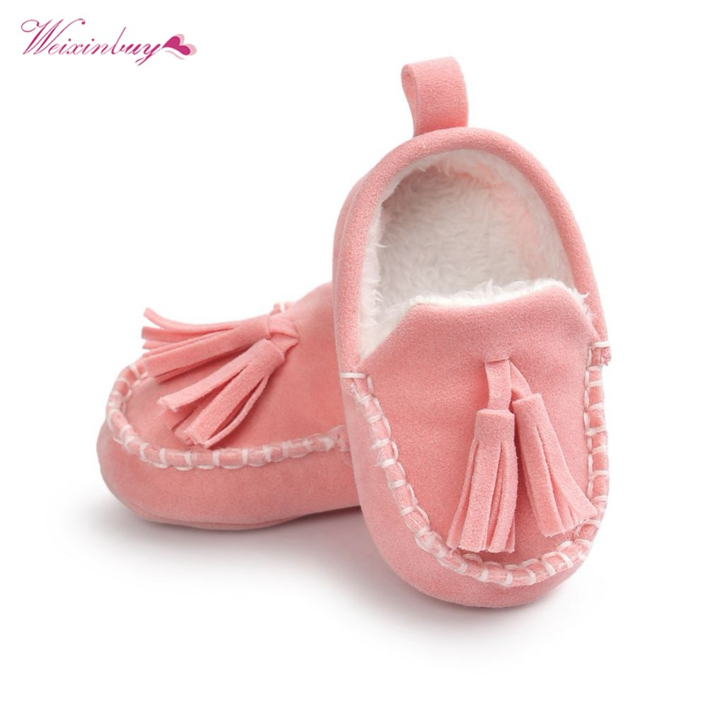 WEIXINBUY Winter Baby Pu Leather Infant Suede Boots Baby 6 Colors Moccasins Newborn Princess Baby First Walker Shoes