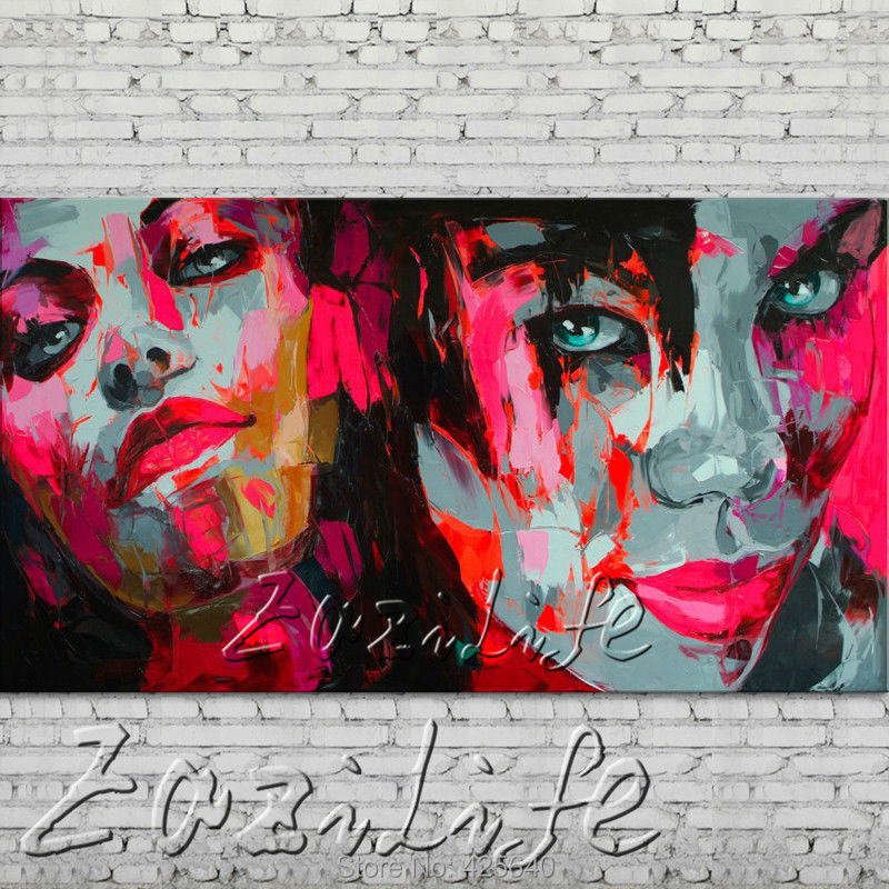 font b knife b font portrait Face Oil painting Character figure canva Hand painted Francoise