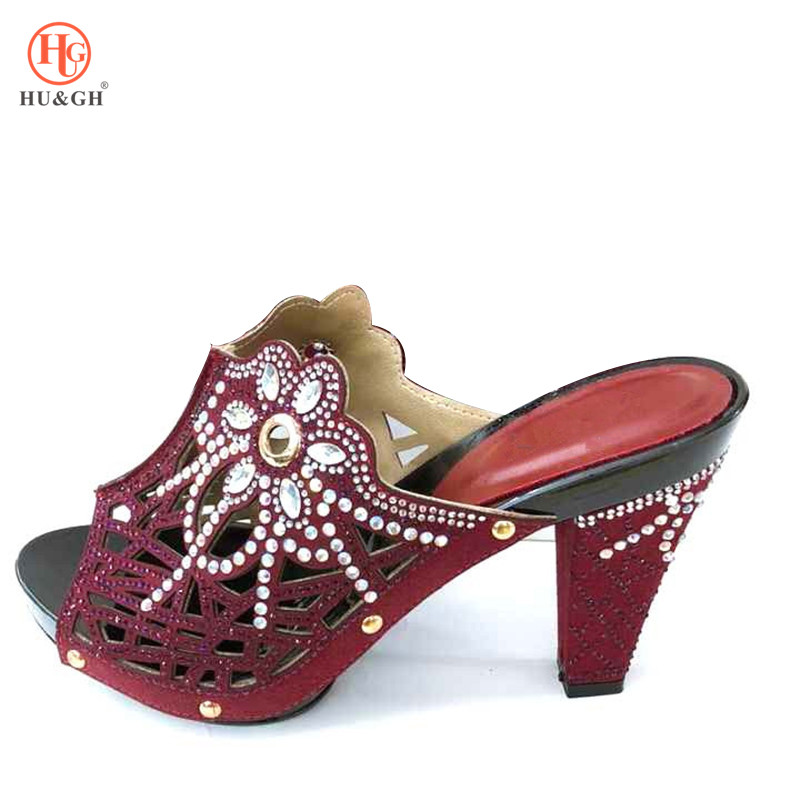 2018 New Summer Shoes Women Nigerian Party Shoes Decorated with Rhinestone Woman Shoes Summer Pumps Italy