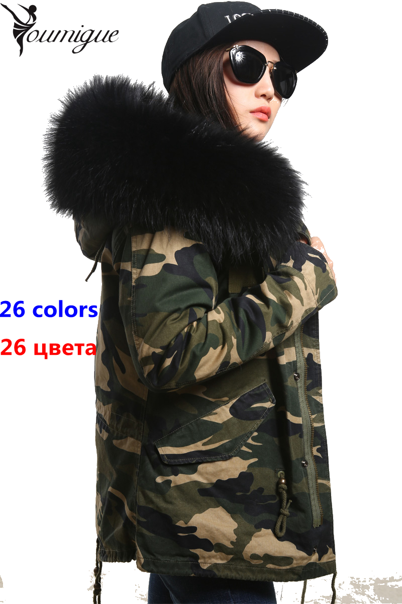 YOUMIGUE Fashion woman Camouflage Large raccoon fur collar hooded coat parkas outwear detachable Fox fur lining winter jacket women large collar army camouflage fox fur liner hooded coat outwear real fox fur lining jacket woman brand dhl free shipping