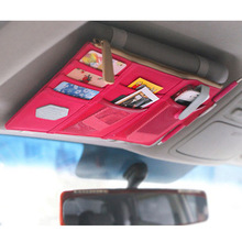 Travel Accessories Thin Automobile Sun Shading Board Bag Parking Card Bill Receipt Sundries Storage Hanging Bag Car Interior