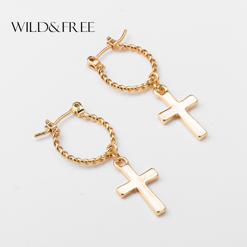 Wild&Free Punk Style Gold Color Cross Hoop Earrings For Women Simple Ear Piercing Small Twisted Charming Hoop Earring Brincos Пирсинг ушей