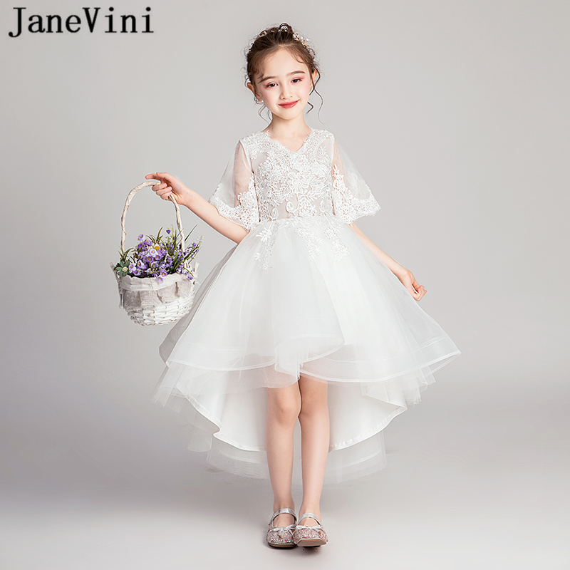 JaneVini Cute White High Low   Flower     Girls     Dresses   Princess V Neck Lace Appliques Tulle Ankle Length   Girls   First Communion   Dress