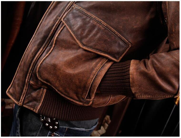 HTB16kiuiOwIL1JjSZFsq6AXFFXao 2019 Vintage Brown Men A2 Pilot Leather Jacket Wool Collar Size XXL Genuine Thick Cowhide Russian Aviator Coat FREE SHIPPING