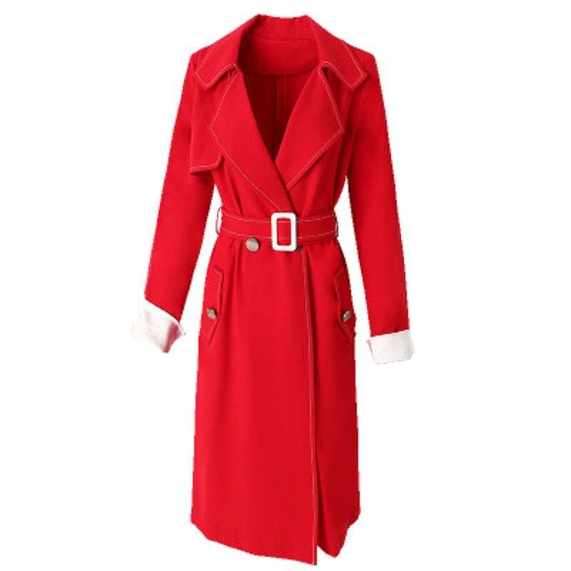 Lady 2018 Femmes Qualité Noir Veste Longues Ceinture Printemps rouge Vintage Manches Manteau Neuf Manteaux Automne De Avec Mode Office Hiver Rouge Haute Solide FAgqX
