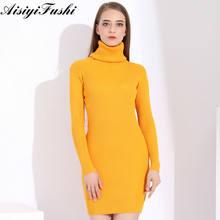 5e1ba4a3d52 Зимнее платье водолазка свитер женский желтый ребристый облегающее платье  офисный зимний свитер вязаное платье осень халат