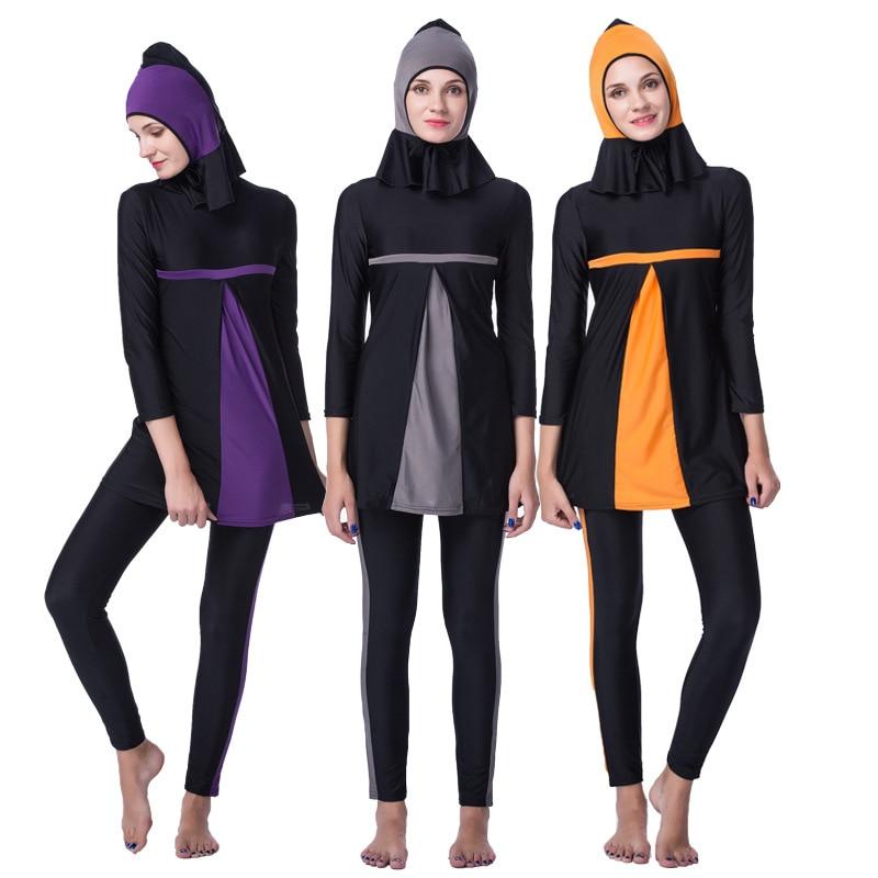 3PCS/Set Fashion Splice Muslim Swimwear Islamic Swimsuit For Women Hijab Full Coverage