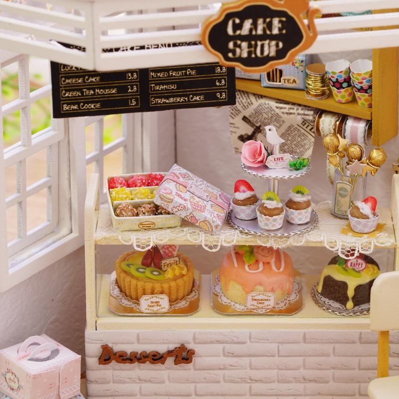 Diy Miniature Dollhouse Wooden Doll House Cake Shop Home Cute Room