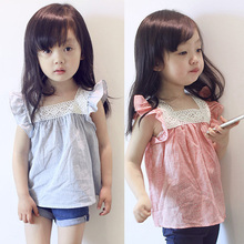 New Hot Summer Children Tops Tee Shirts Toddler Girls Cotton Soft Tops Casual Lace Splicing T-Shirts