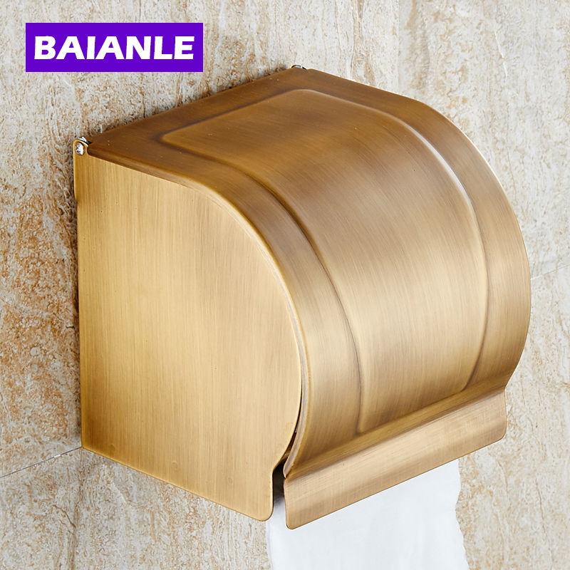 Antique Brass Paper Towel Rack Waterproof Paper Towel Box The Closed Toilet Paper Holder Bathroom Accessories european style antique brass luxury paper towel rack bathroom paper holder base carved toilet paper box bathroom toilet accessor