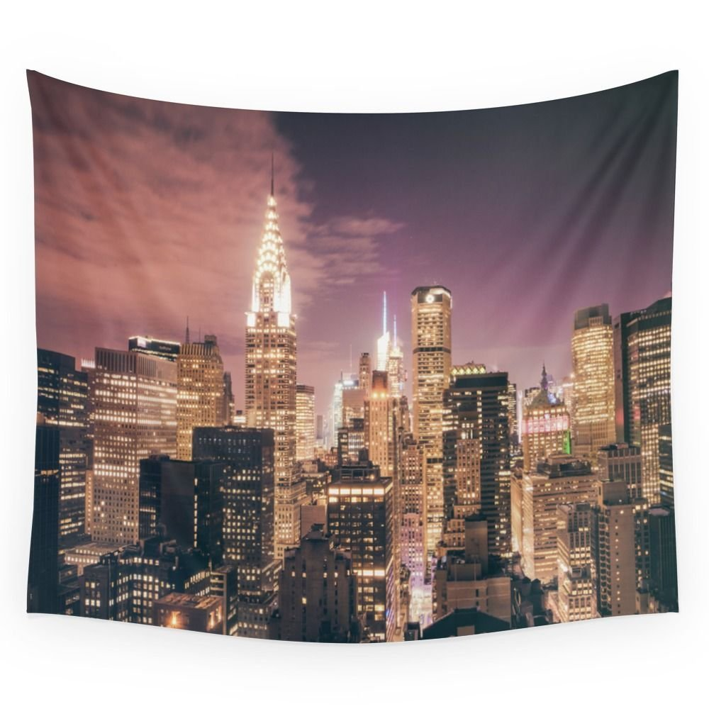New York City - Chrysler Building Lights Wall Tapestry Wedding Party Gift Bedspread Beach Towel Yoga Picnic Mat