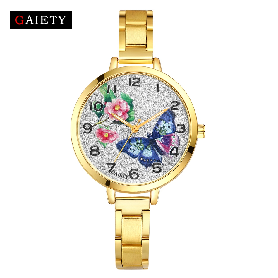 Gaiety 2018 Gold Fashion Butterfly Stainless Steel Watches Women Top Brand Luxury Casual Clock Woman Wrist Watch Ladies Relogio