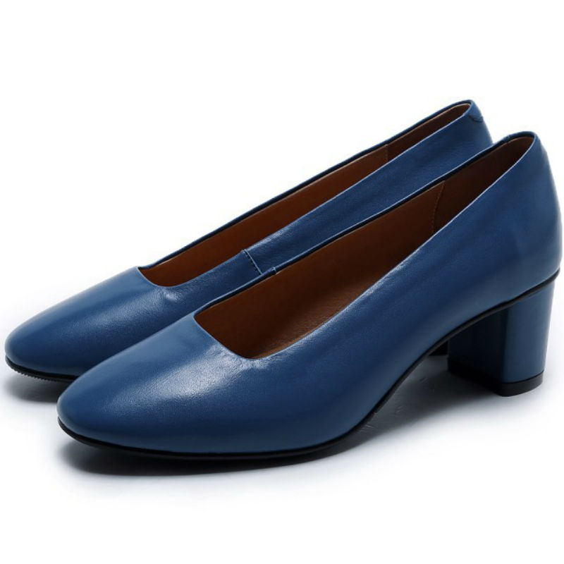 ФОТО 2017 spring summer Real cow leather square toe thick high heels shoes ladies Elegant shallow pigskin liner pumps New fashion