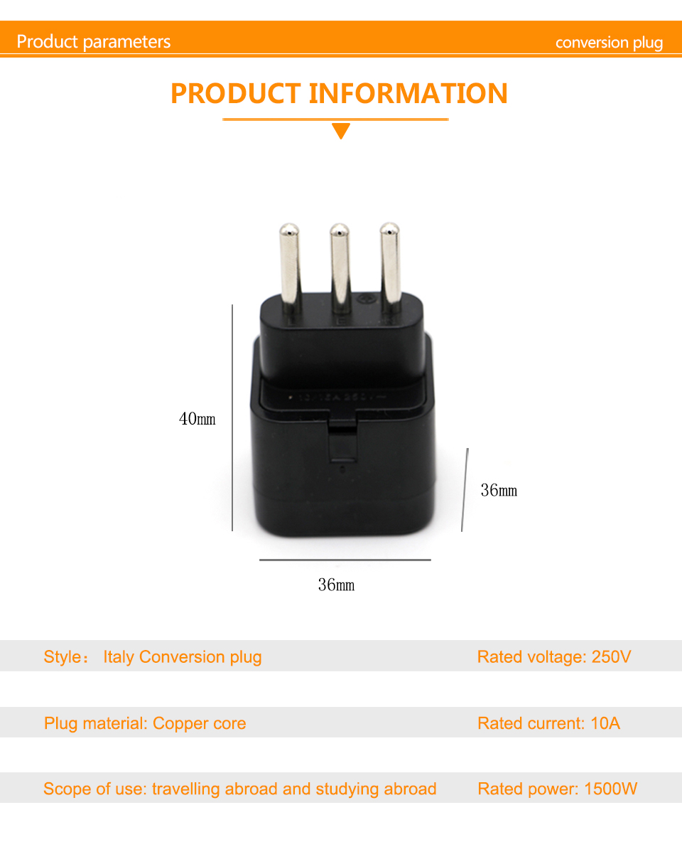 3-pin IT Conversion plug Universal UKUSEUAU to Italy Milan Chile Vatican Italian Travel AC Power Adapter Plug Converter (4)