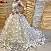 TaoHill бальное платье Свадебные платья возлюбленная с длинной шеей рукава кружево бабочка ручной работы цветок с развертки поезд