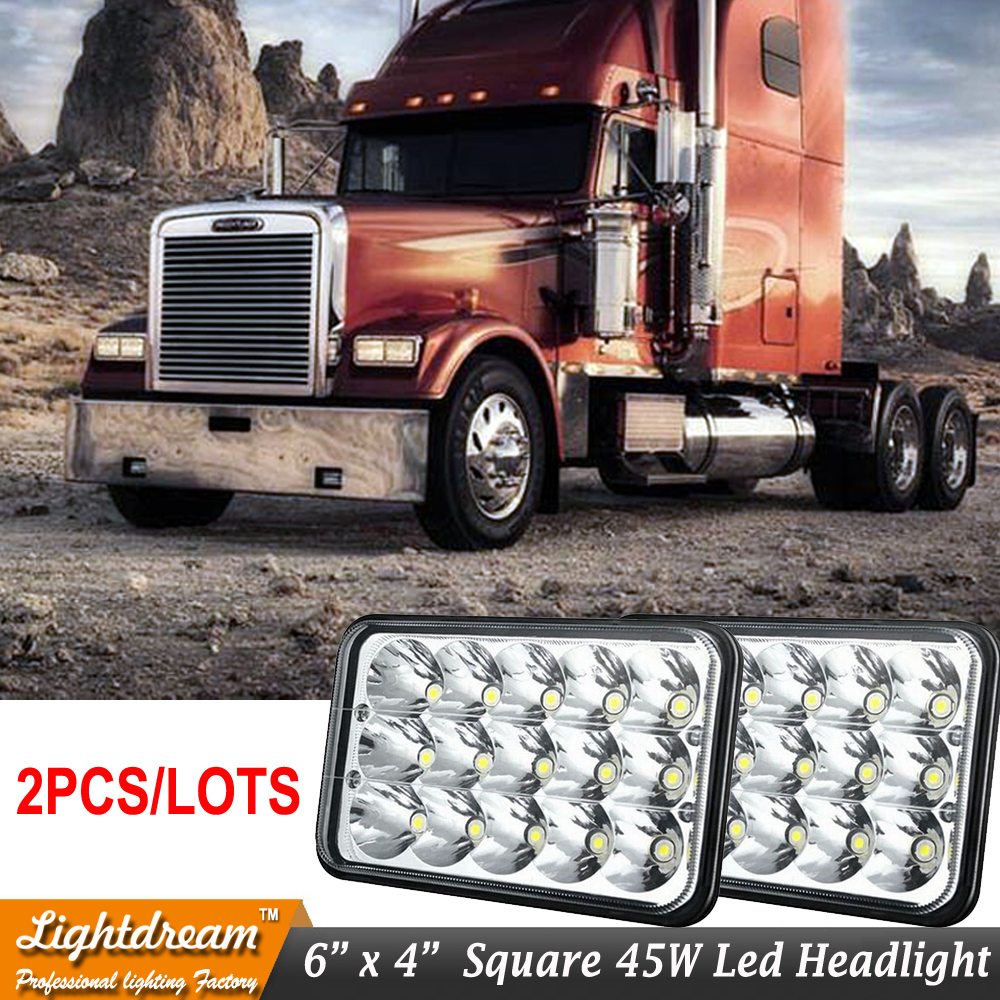 2x 45w Rectangle car Light 4x6 Led headlamp High Low Beam H4 Replace Xenon Headlights bulbs H4651 H4652 H4656 H4666 Free ship