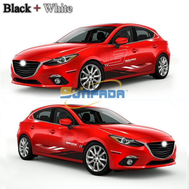 Sport style car body both sides car stickers for mazda 3