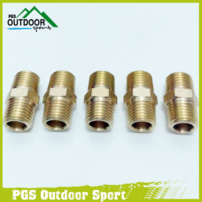 A Lots Of 5pcs Brass Pipe Hex Nipple Fitting 1/4
