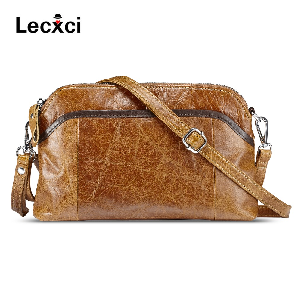 Lecxci ladies' genuine leather handbag small soft vintage leather crossbody travel smartphone bag wristlets clutch wallet