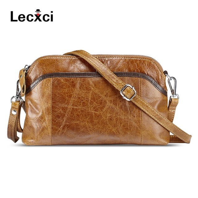 Lecxci Las Genuine Leather Handbag Small Soft Vintage Crossbody Travel Smartphone Bag Wristlets Clutch