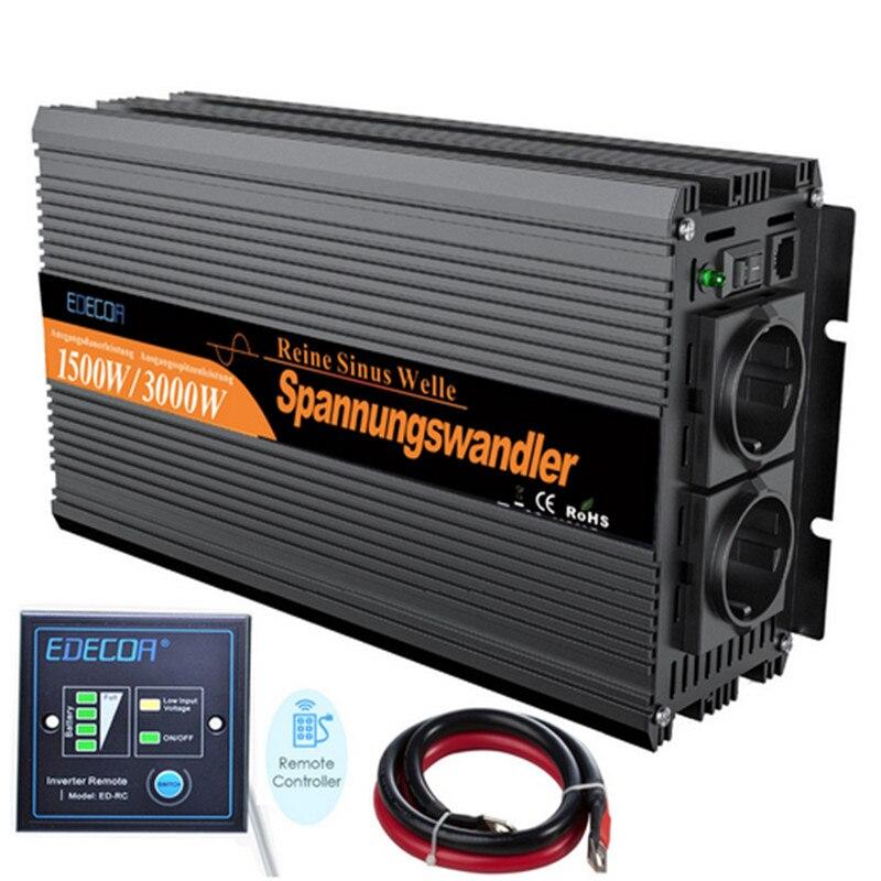 EDECOA onda sinusoidale pura power inverter convertitore Con wired1500 watt DC 24 v a AC 220 v 3000 w max trasporto libero