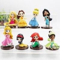 Q Posket Caractères Tiana Neige Blanc Rapunzel Jasmine Ariel Cendrillon Belle Aurore Princesse Chiffres Filles Jouets Cadeaux 8 pcs/ensemble