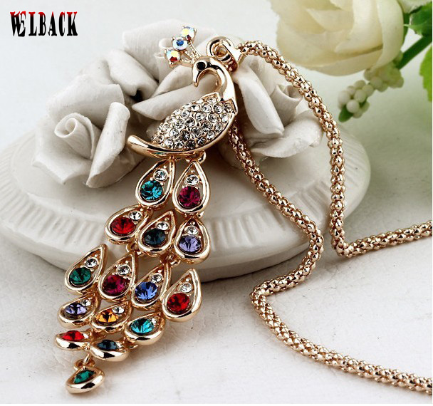 2015  new  fashion  female full rhinestone peacock long design crystal statement long necklace Pendant necklace