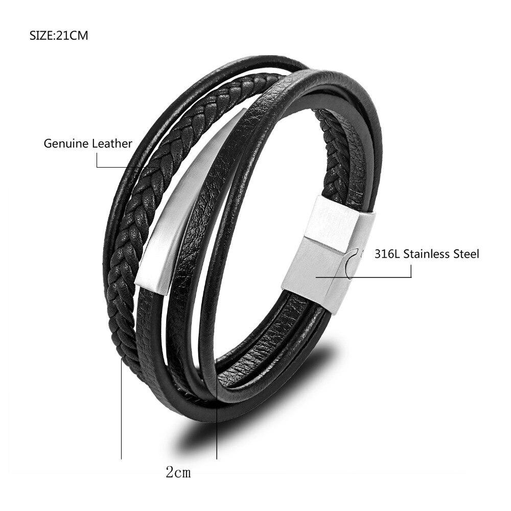 MOGE Trendy Men Genuine Leather Bracelet For Men Charm Multilayer Magnet Handmade Bangles Gift For Cool Boys