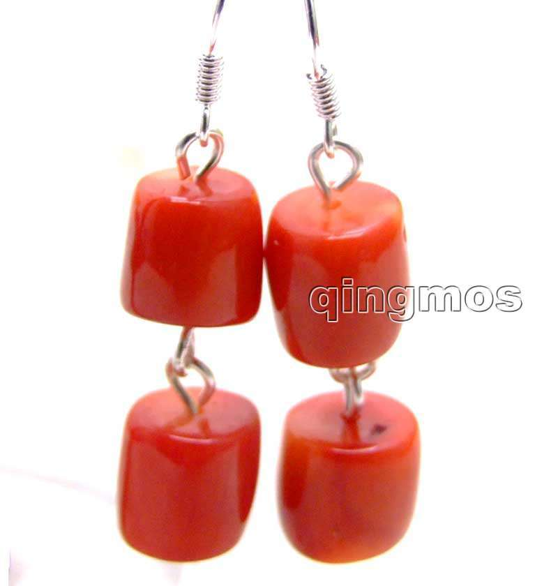 SALE GENUINE Big 10-11mm Thick Slice NATURAL Red Knobble Coral Dangle Earring-bra412 Wholesale/retail Free Ship