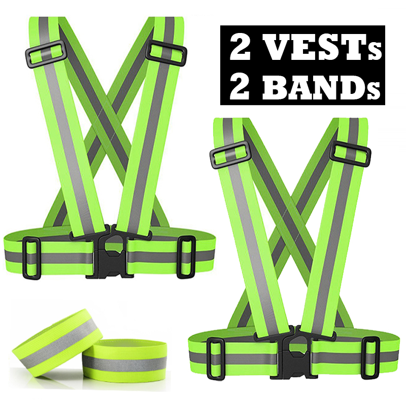 Pack of 2 High Visibility Safety Reflective Vest Lightweight Adjustable Elastic Reflective Bands for Wrist Arm Ankle Leg 10kg adjustable ankle wrist weights