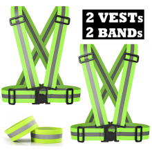 Pack of 2 High Visibility Safety Reflective Vest Lightweight Adjustable Elastic Reflective Bands for Wrist Arm Ankle Leg