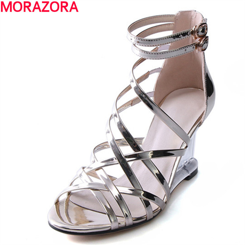 MORAZORA sexy wedges shoes woman high heels 8cm roman style women shoes sandals in summer solid pu shoes big size 34-43 англо русский словарь русско английский словарь english russian russian english dictionary