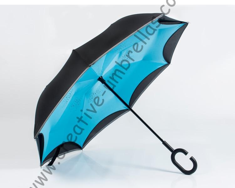 Hands-Free Automobile Anti-Fold Long Handle Blue Whale Umbrellas Reverse