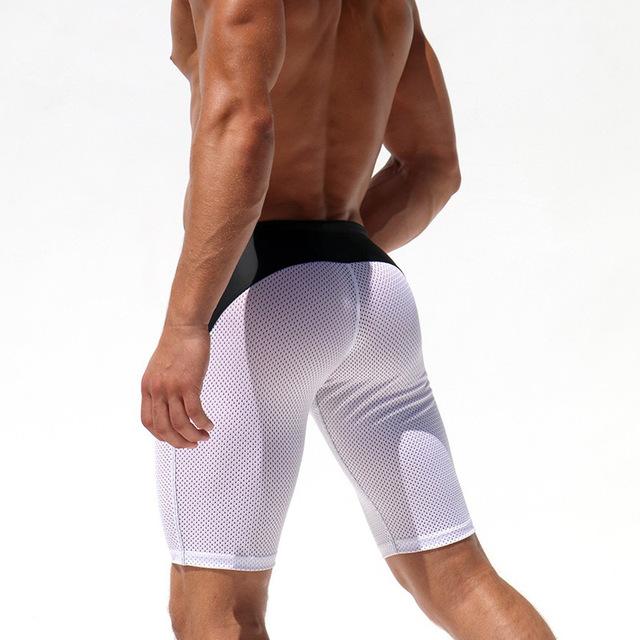 JOCKMAIL Men's Tight Shorts Slim Fitted Men Mesh Workout Shorts Skinny Crossfit Men's Fight Short Bodybuilding Fitness Short
