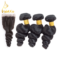 HairUGo Brazilian Hair Loose Wave 3 Bundles With Closure 4 Pcs Lot Human Hair Weave Bundles
