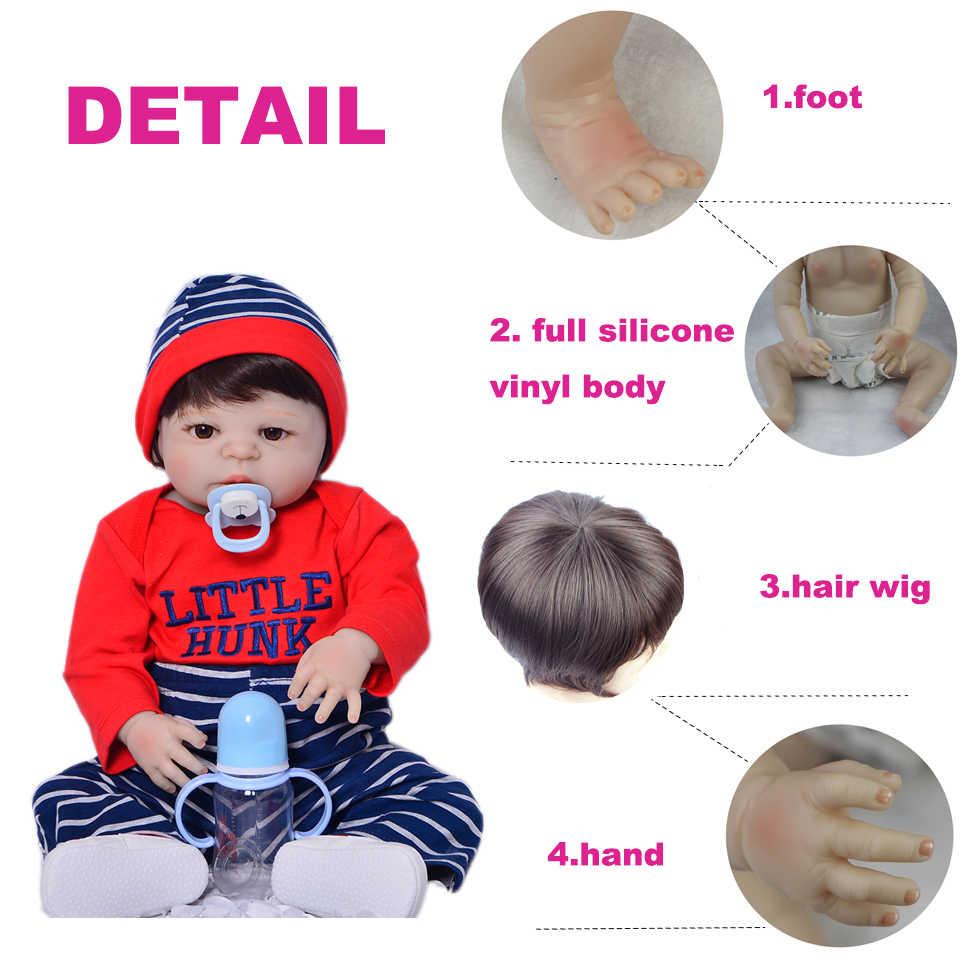 Полностью силиконовая виниловая пупсик игрушки Реалистичные куклы Reborn 23 дюймов для маленьких мальчиков Подарки Развивающие Boneca игрушечный олень, детский приятель