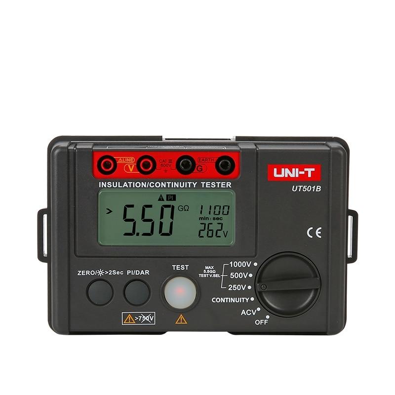 Uni T Ut501b 1000v Insulation Resistance Meter Ground Megohmmeter Voltmeter W Lcd Backlight Digital Earth Tester Megger