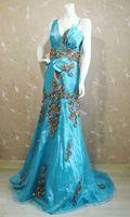 Arlene sain lago azul exótico deusa fan trabalho pesado bead cauda dress frete grátis