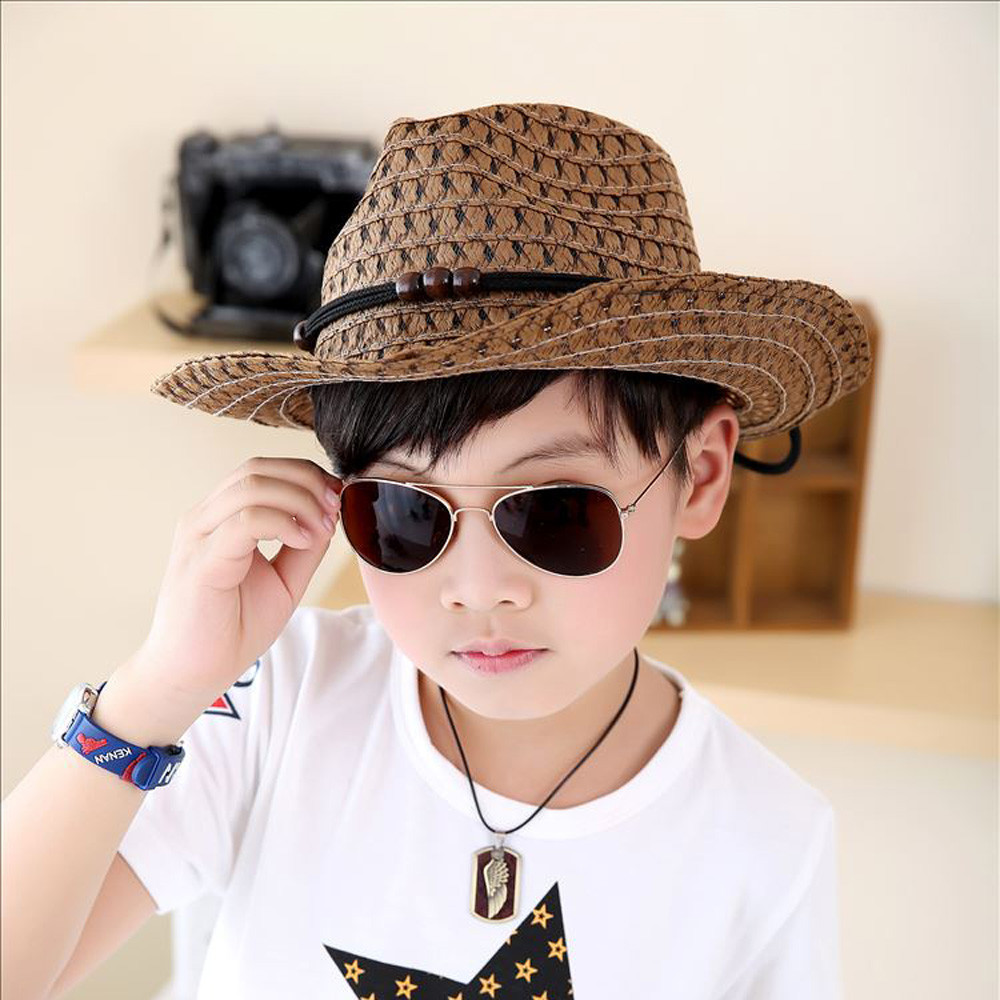 Baby Summer Cowboy Straw Hats Kids Boys Solid Caps