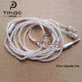 Tingo 1.25m 16 Shares 5N Silver Plated Earphone Cables Headphone Line Wire HIFI Headset Line for Shure pin series (535/215 etc.)