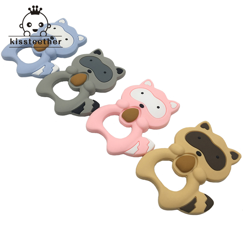 1pc Raccoon Silicone Teether Baby Teething Toy Comfort Chew Food Grade Silicone Baby Shower Gift chew toy kids Necklace pendant