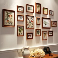 16pcs Brown Grass Insect Printing Wall Hanging Photo Frame Set Retro Wooden Picture Frame Home Background Decor Photo Frames