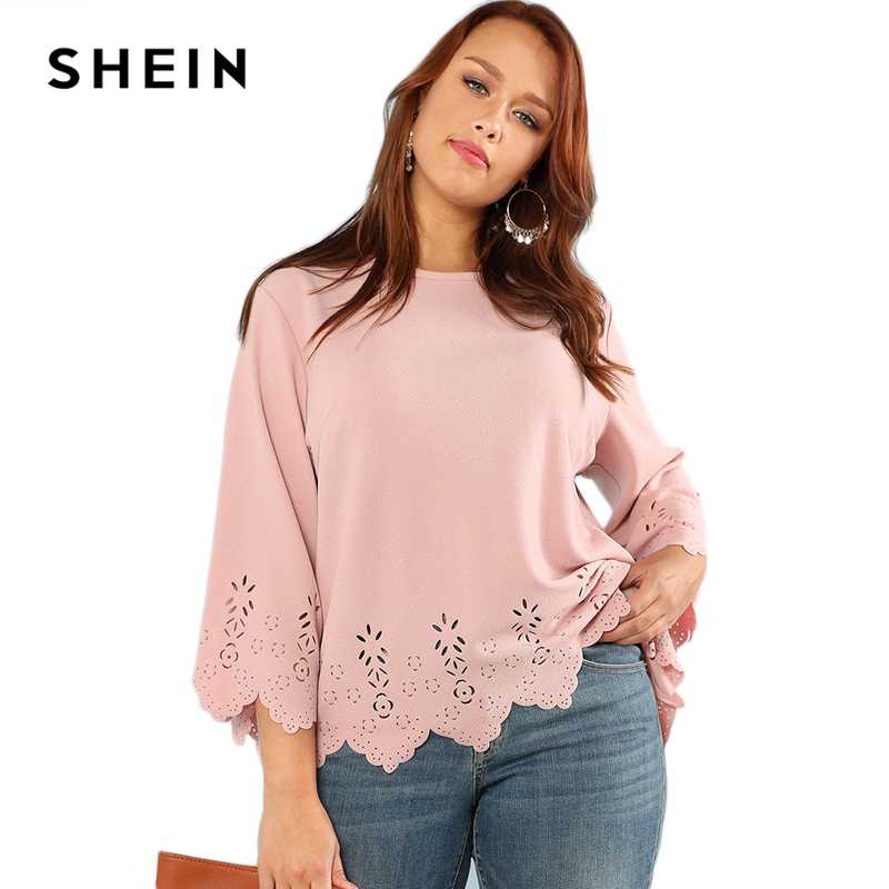 SHEIN Laser Cut Solid Top 2018 Summer Round Neck Three Quarter Length Flounce Sleeve Plus Size Blouse Women Elegant Pink Top 5