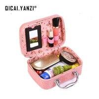 2016 Crocodile Jewellery Makeup Box Cosmetic Storing Small Square Handbag Travel Pockets Organizer Bag Free Shipping