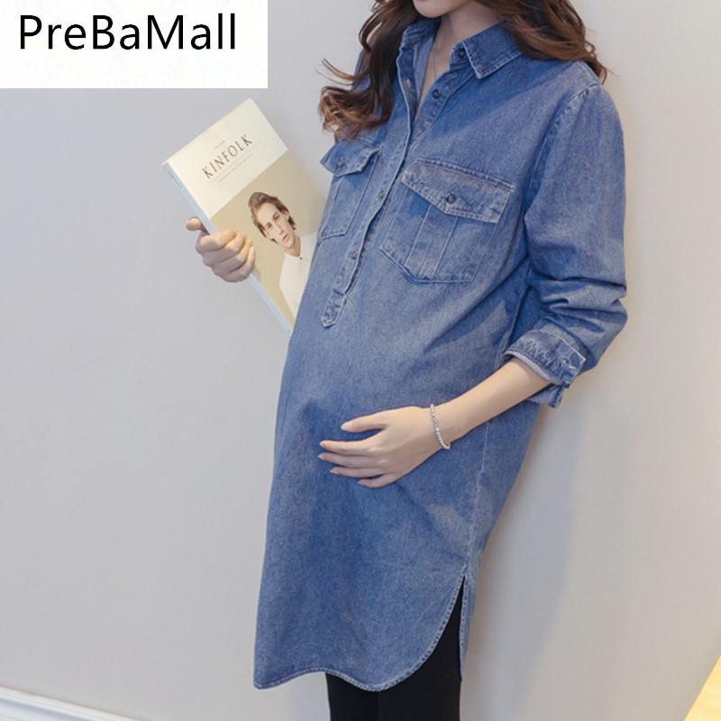 PreBaMall Maternity Dresses Long Sleeve Blouse Clothes For Pregnants Women Fashion Pregnancy Loose Dress Clothing B0603 sweet stand collar long sleeve waist tied flare blouse for women