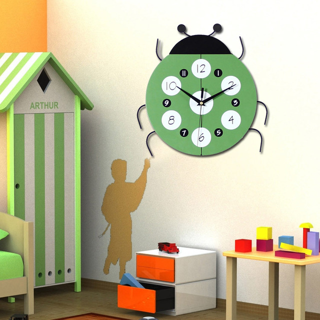 Ladybug Shape Decorative Wall Clocks Modern Design Silent Living Room Wall  Clock Wall Watch Home Decor