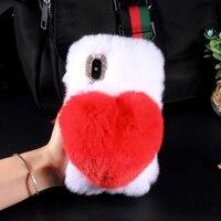 DULCII For IPhone X 10 8 7 Plus Case Lovely 3D Heart Shaped Soft Rabbit Fur