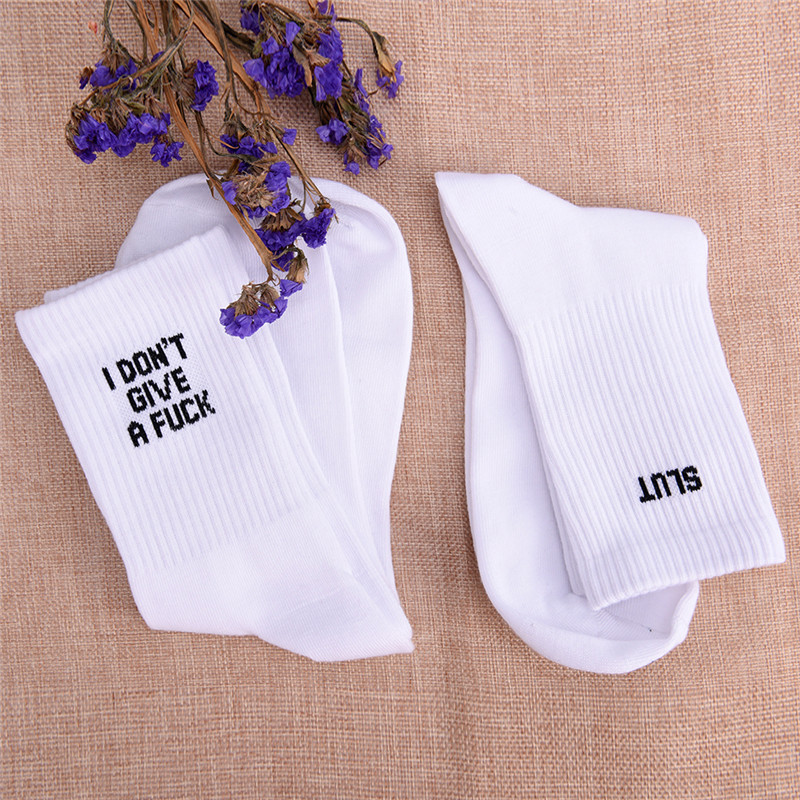 2019 New Cotton   Socks   humor words Print Warm Casual   Socks   unisex   socks   Autumn Winter White   Socks