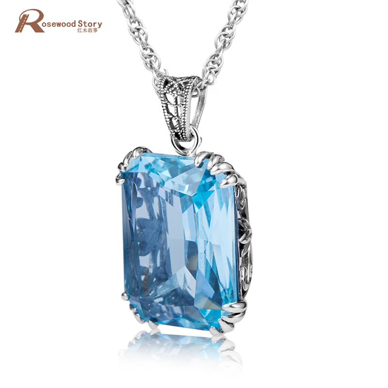 Korea Fashion Created Aquamarine Stone Pendant 925 Sterling Silver Necklaces&Pendants Statement Jewelry For Women Wedding PartyKorea Fashion Created Aquamarine Stone Pendant 925 Sterling Silver Necklaces&Pendants Statement Jewelry For Women Wedding Party